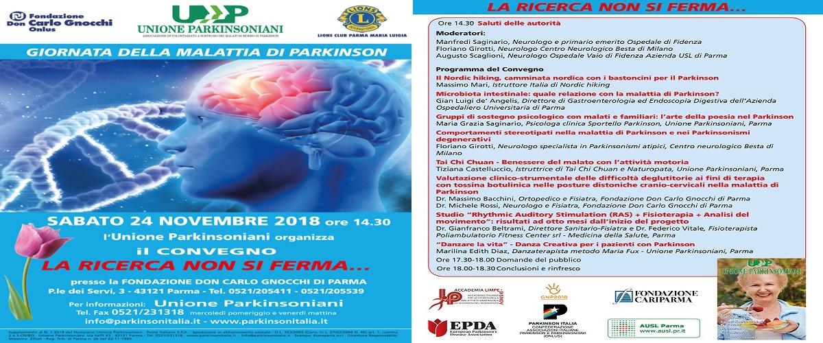GIORNATA DELLA MALATTIA DI PARKINSON: SABATO 24 NOVEMBRE 2018 ORE 14.30